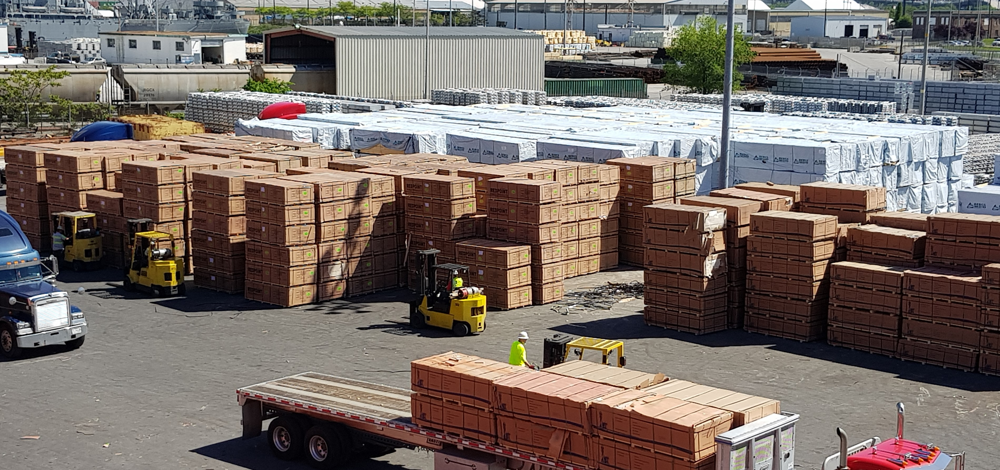 View of lumber product outside warehouse